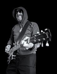 Relaxed Kev (Chris Willis 10) Tags: musician white black monochrome smile mono guitar rocker laugh