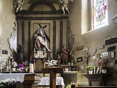Old Chapel with Statue (enneafive) Tags: sculpture statue belgium belgique belgie religion chapel pilgrimage wellen beechwood polychrome berlingen pita oetersloven