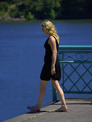 Over The Edge (swong95765) Tags: woman female river walking edge blonde oops oblivious