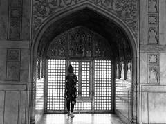Framed | Agra Fort,India (vjisin) Tags: winter light blackandwhite woman sunlight india monochrome architecture wonder asia shadows fort outdoor agra unesco worldheritagesite column marble shahjahan mughal agrafort whitemarble yamuna mughalarchitecture mumtaj