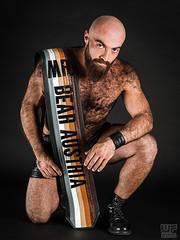 Mr. Bear Austria 2016 (Gabriel) (WF portraits) Tags: bear hairy man black male leather beard model boots sash malemodel aut irq gaybear gayleather mrbearaustria