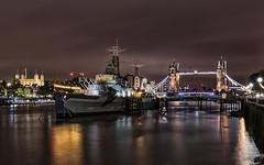 HMS Belfast (Stefan Sellmer) Tags: world longexposure england london tower thames night towerbridge reflections lights colorful outdoor hmsbelfast gb vereinigtesknigreich