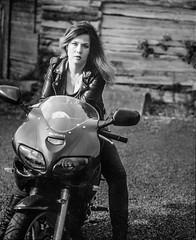 Marlou (keesenzo) Tags: woman white black mamiya film girl bike kodak trix grain motorcycle biker rb67
