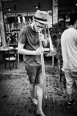 Walk this way (amira_a) Tags: street bw musician music fuji fujifilm trombone streetshow x100 tromboneplayer x100s