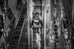 Selfie (Laser Kola) Tags: blackandwhite me monochrome strange lines japan stairs reflections blackwhite shiny escalator reflective fujifilm omakuva osaka straight escher goingdown mcescher blackandwhitephotography selfie 2014 noflashphotography fujix100s fujifilmx100s laserkola meitsie