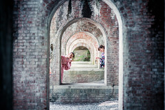 Beneath the Aqueduct (Jon Siegel) Tags: girls cute brick smiling japan stone architecture forest japanese ancient nikon women kyoto traditional 14 smiles 85mm posing aqueduct yukata nikkor traditionaldress 85mmf14 d810