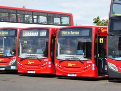 GAL SEN32 YX61FZR - SEN35 YX61FZU - BX BEXLEYHEATH BUS GARAGE - TUE 6TH JULY 2016 (Bexleybus) Tags: bus london ahead garage go 200 dennis enviro bexleyheath adl bx goahead yx61fzu sen35 sen32 yx61fzr