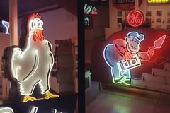 Museum of Neon Art Olympus Pen-EES (lammyracer) Tags: 35mm diptych neon glendale mona museumofneonart lapalmachickenpieshop neononfilm