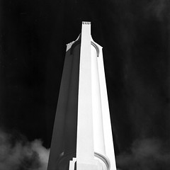 The Monument (Shooting Ben) Tags: white black 6x6 mamiya film monument lines architecture clouds mediumformat curves australia nsw albury blackadnwhite c330 caffenol caffenolc