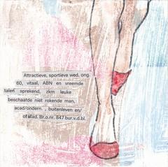 # 198 (16-07-2016) (h e r m a n) Tags: herman illustratie tekening bock oosterhout zwembad 10x10cm 3651tekenevent tegeltje drawing illustration karton carton cardboard advertentie contactadvertentie contact relatie liefde lievde advertisement ad relationship love lonelyheartscolumn voeten feet schoenen shoes hogehakken highheels benen legs motion beweging vrouw woman widow