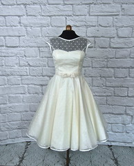 The Dotty Silk Dress (Ryley & Flynn Vintage) Tags: silk organza tea length wedding dress 1950s 50s short handmade