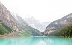 Into the Horizon (michaelnugent) Tags: canon eos 5d mark ii ef 24 105 mm l lens lake louise banff alberta explore travel canada canadian rocky mountains portrait landscape scenery teal blue waters green trees cloudy overcast snow rainy raining looking into the horizon