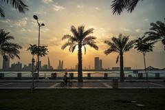 Sunny delight (heshaaam) Tags: sunset sea tree bicycle bahrain kid palm playful manama muharraq