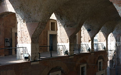 Trajan's Market gallery with sun