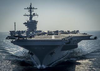 USS Carl Vinson is underway in the Arabian Gulf.