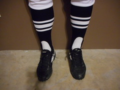 NFL low grass football officials shoes with 3 stripe stirrup socks. (Football Officials Referee Uniforms) Tags: white 3 canada black field grass socks shoe back football clothing athletic referee official sock uniform pants knickers side low nfl stripe canadian hose clothes judge striped league cfl umpire officials knicker linesman