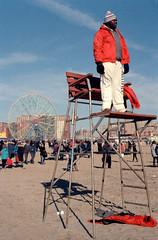 Lifeguard (dtanist) Tags: bear new york city nyc newyorkcity newyork film beach wheel brooklyn club analog standing swim canon wonder island 50mm high sand chair view kodak year lifeguard shore 100 a1 polar coney fd plunge ektar denos