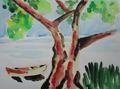 Beach, boat and tree, by Carlos - DSC08295 (Dona Mincia) Tags: tree art praia beach watercolor painting paper landscape boat barco arte paisagem study rvore pintura aquarela