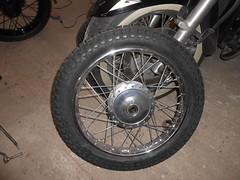 new tyres (Nicola_R) Tags: red 2 two classic bike bristol japanese stroke retro motorbike trail chrome 1967 motorcycle restored restoration suzuki jap twostroke enduro bearcat scrambler b105 trailbike b105p vjmc