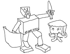 Saba sketches / cartoons. Boxman defends Little Cupcake!