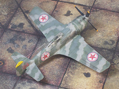 """1:72 Lavochkin La-7bis (ASCC code 'Flake'); aircraft """"09 Red"""" of 50th IAD/177th IAP, Korean People's Army Air Force (조선인민군 공군, KPAF); Uiju Airfield, December 1950 (Whif/Hobby Boss kit conversion) (dizzyfugu) Tags: china boss green army grey code force conversion air tiger north stripe korea hobby peoples piston korean finch soviet kit 1950 ussr whatif modellbau ascc la5 la7 la9 la11 whif lavochkin 공군 dizzyfugu kpaf 조선인민군"""