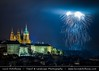 Czech Republic - Prague - Prague Castle & Saint Vituss Cathedral at night during New Years Firework display