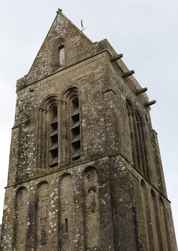 Clocher, église de Saint-Marcouf (XIIIe), Manche, Normandie, France