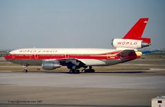 N108WA - 1979 build Douglas DC10-30CF, frame still operational with Fedex as N318FE (egcc) Tags: dallas dfw douglas fortworth 108 dc10 282 worldairways kdfw dc1030 46837 dc1030cf n318fe n108wa