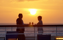 James and Leona on the Thomson Dream (Andy Coe) Tags: cruise sunset james couple ship drink sony dream thomson cocktails a77 leona carabbean