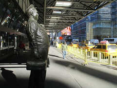 Ralph Kramden on a Sunny Day 3632 (Brechtbug) Tags: new york city winter holiday cold bus weather statue bronze port lunch is jackie uniform day authority january tie sunny front terminal an midtown his while chilly jolly gleason ralph stands drivers straightening pail clutching clad manhattans honeymooners 2015 kramden eightfoottall kramdon 01082015