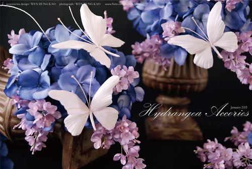 紫陽花與蝴蝶頭飾-特寫