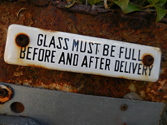 instructions (kenjet) Tags: glass sign plaque rust letters rusty full delivery glassmustbefull beforeandafterdelivery