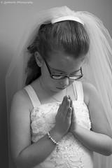 Praying (chelsea.lombardo3) Tags: bw white black church girl canon 50mm little pray indoor religon communion t5i