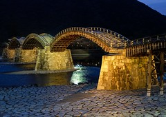 Kintaikyo V (Douguerreotype) Tags: bridge water japan architecture night river dark lights arch iwakuni kintaikyo