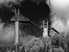 Olympic Ski Jumps - Lake Placid (Mountain Visions) Tags: urban blackandwhite newyork tower monochrome architecture contrast landscape pentax upstate adirondacks newyorkstate olympics adirondack adk lakeplacid skijump k3 518 whiteandblack pentax18135mm3556edaldcwr