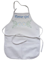 Flower Girl Apron - Mixed Media - Embroidery and Rhinestones (initial_impressions) Tags: white flower detail with apron embroidered weddingapron rhinestoneembellished flowergirlapron