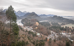 Hohenschwangau (ccr_358) Tags: trees winter panorama lake castle tourism germany landscape lago bayern deutschland bavaria grey see parkinglot scenery day village view cloudy postcard january lac palace carpark schloss inverno germania cartolina gennaio hohenschwangau baviera alpsee 2016 swabia christmasholidays schlosshohenschwangau hohenschwangaucastle ostallgu ccr358