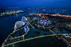 Garden by the bay (ben_leash) Tags: city blue night port harbor singapore asia cityscape nightlights ships shipping shipchannel marinabay marinabaysands gardenbythebay