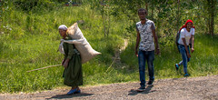 Three Different Characters!...Ethiopia (Peraion) Tags: africa road old people woman men field sack ethiopia youngmen