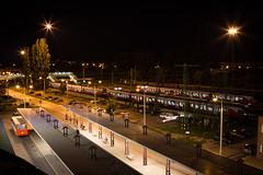 Train Station Tatabnya (Vajvoda Tams) Tags: road city railroad station architecture night train flirt outdoor rail mv vonat vast tatabnya lloms