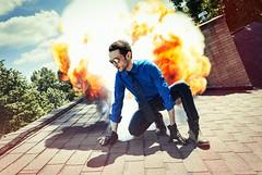 Dapper Explosion. (jonathan_brandt) Tags: roof summer portrait sun selfportrait explosion houdini