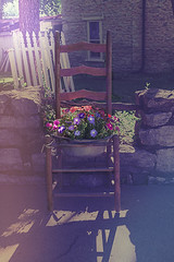Chair full of Flowers (LarryHB) Tags: old travel flower horizontal rural vintage photography illinois still chair smalltown photooftheday 2016