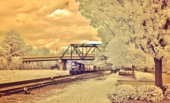 Outbound  IR (Neal3K) Tags: railroad trees sunlight clouds georgia ir ns bridges rr headlight infraredcamera rrtracks griffinga norfolksouthernrailway 590nmir kolarivisionmodifiedcamera