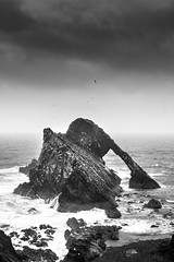 Bow fiddle rock in the rain (Chris B70D) Tags: trip friends summer mist storm beach rain weather rock landscape coast scotland highlands scenery waves cloudy no exploring north scottish we more dont bow end need fiddle uni elgin findhorn kinloss portsoy eduction