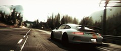 Point of No Return (polyneutron) Tags: white motion car photography pc bokeh 911 depthoffield porsche videogame needforspeed supercar rivals racer nfs gt3 photomode