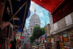 Montemartre in Paris, France (` Toshio ') Tags: toshio paris france montemartre sacrecoeur basilica art store shop architecture church europe european europeanunion french fujixe2 xe2 sky lcouds paintings