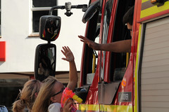 Andover Carnival 2016 (christina.marsh25) Tags: carnival summer urban town streetphotography andover celebration fireengine highfive tradition