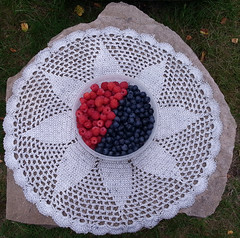 berry creative! (reviskogen) Tags: blueberry raspberry cloth stone table outdoor summer grass leaves