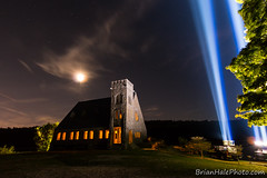 old stone church 911 (Brian M Hale) Tags: oldstonechurch old stone church west w boylston westboylston 911 nine eleven memorial tribute night time long exposure longexposure le moon sky stars spotlight spotlite lights twin towers brian hale brianhalephoto
