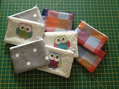 Handmade purses with oil cloth patterned fronts (Maflingo) Tags: purses purse wallet homemade handmade craft sew sewing oilcloth owls zip